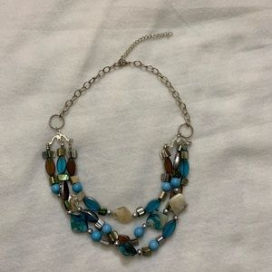 Layered multi color blue brown adjustable necklace